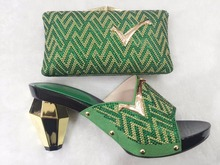 African Shoe And Bag Set High Heel Italian Shoe With Matching Bag Ladies Matching Shoe And Bag Set With Stones TH05