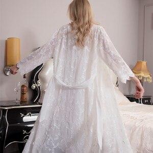 Image 3 - ローブ女性のレースエレガントなローブセット女性刺繍パジャマツーピースためバスローブスーツホット販売