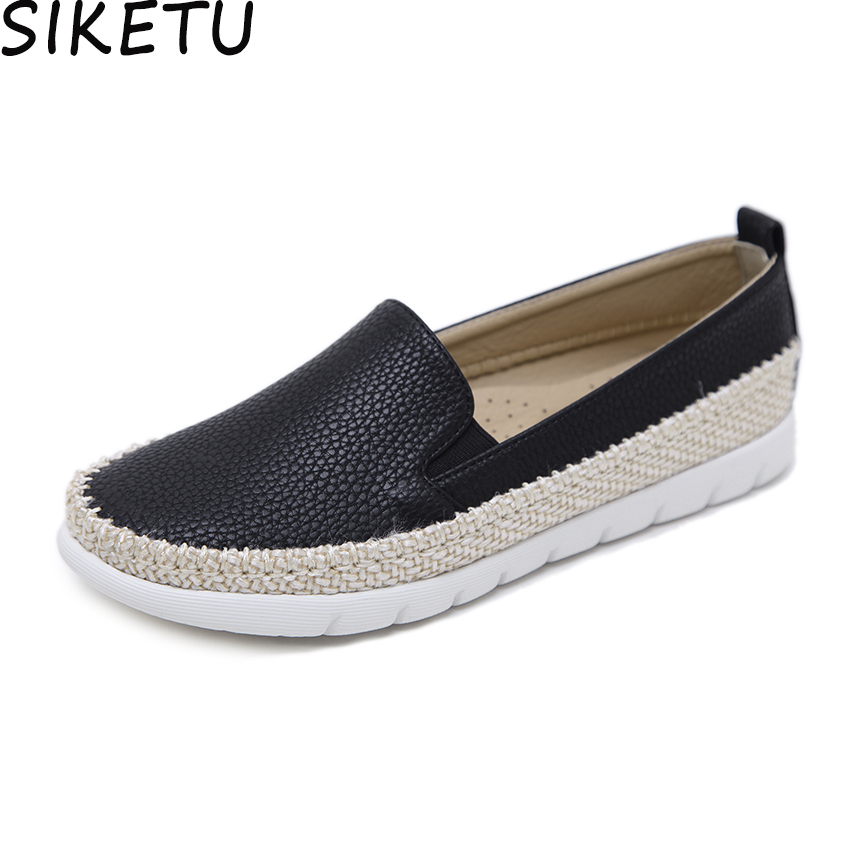 839b9ae8326 SIKETU Women Sneakers Boat Shoes Casual Flat Platform Shoes Texture PU  Leather Straw Hemp Rope Fisherman Shoes Loafers Plus Size