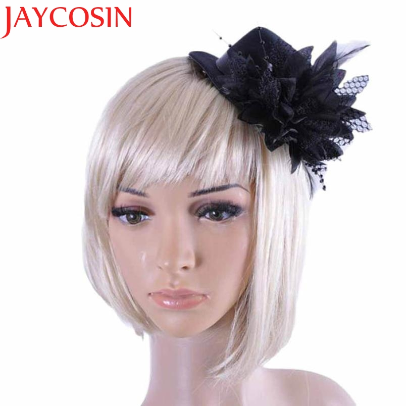 JAYCOSIN Women Party Head Hair Clip Barrette Hat Flower Feather Bride Headband accessories Drop Shipping High Quality metting joura vintage bohemian green mixed color flower satin cross ethnic fabric elastic turban headband hair accessories