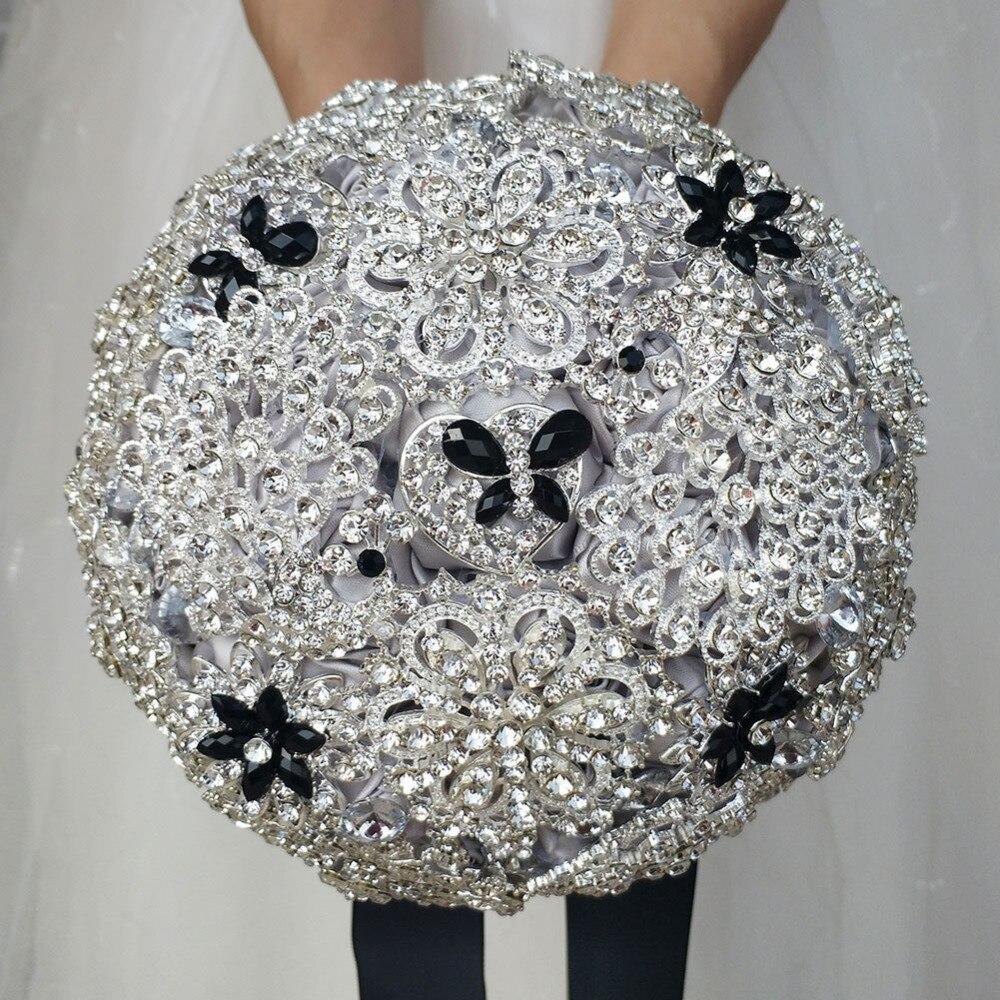 Fait à la main DIA 18 cm Bouquets de mariage de luxe argent noir strass broche accessoires bijoux complet fleur de mariage Bouquet de mariée