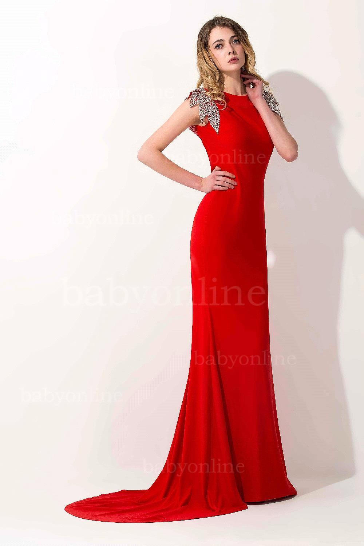 New Vestido de Festa Longo Formal Red Evening Gowns Cap Sleeves ...