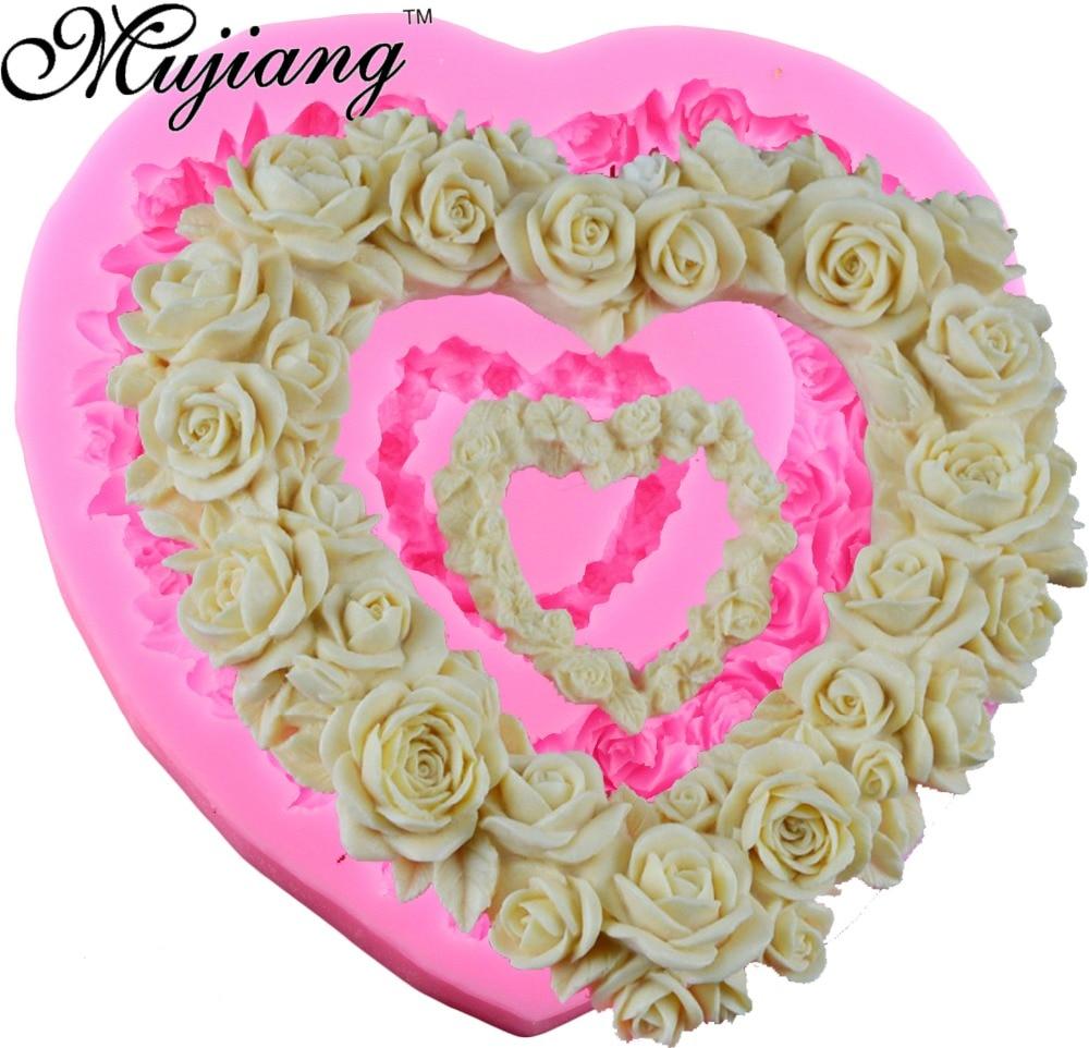 Velkoformátové srdce růže silikonové formy svatební dort - Kuchyně, jídelna a bar