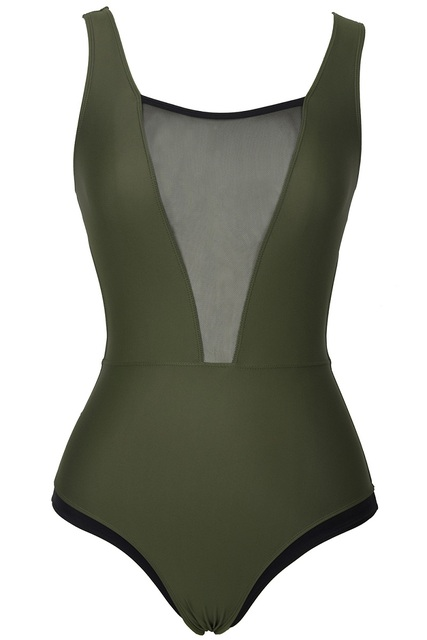 214b0a392ce Cupshe Army Green One-piece Swimsuit Women Deep V neck Mesh Patchwork  Backless Monokini 2019 Girl Beach Bathing Suits Swimwear