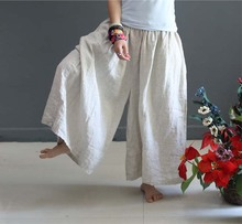 Summer Linen Trousers For Women Elastic High Waist Fashion Female Wide Leg Pants Loose Plus Size Culottes Causal Capris Pants