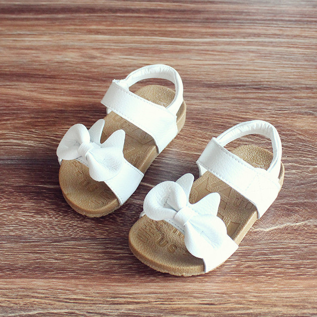 Дети сандалии Из Натуральной кожи 2017 летом девочек сандалии лук принцесса обувь скольжению подошва детские сандалии 1-3 лет