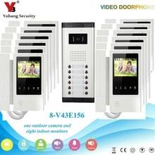 Yobang Security Wired Waterproof Camera 4.3″Inch Color Villa Video Intercom Door phone Access Control For 1 Camera 12 Monitor