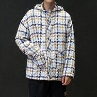 Осенне-зимняя куртка мужская клетчатая с капюшоном повседневные куртки для мужчин Шерсть мужские куртки и пальто мужской уличная одежда бо...