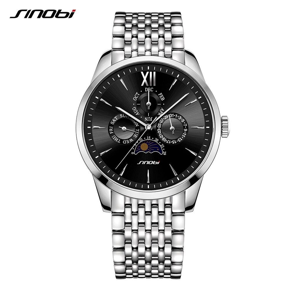 Sinobi ผู้ชายนาฬิกาควอตซ์ธุรกิจนาฬิกาสแตนเลสเต็มรูปแบบวันที่ปฏิทินแบรนด์หรูนาฬิกา Sun Moon High  end นาฬิกาข้อมือ-ใน นาฬิกาควอตซ์ จาก นาฬิกาข้อมือ บน AliExpress - 11.11_สิบเอ็ด สิบเอ็ดวันคนโสด 1