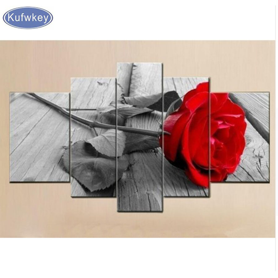 5pcs diy diamond embroidery Red rose diamond painting full diamond mosaic picture of rhinestones cross stitch