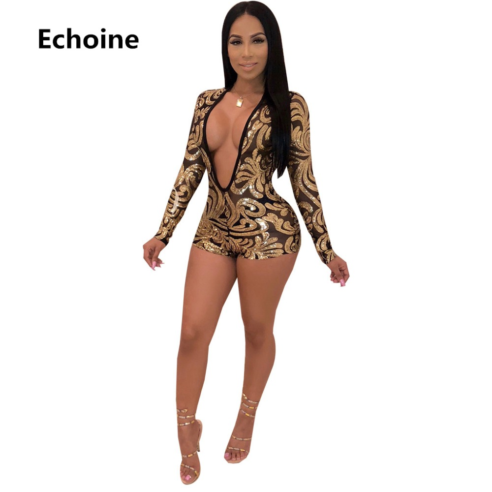 469d19c57a9 Glitter Gold Sequins Sexy Short Playsuit Women Deep V Neck Long Sleeve See  Through Jumpsuit Elegant Mesh Patchwork Party Overall