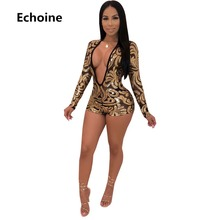Echoine Women Sexy Deep V-neck Sequin Playsuit Sheer Mesh Bodycon Bodysuit Club Outfits  Female Slim Romper Overalls