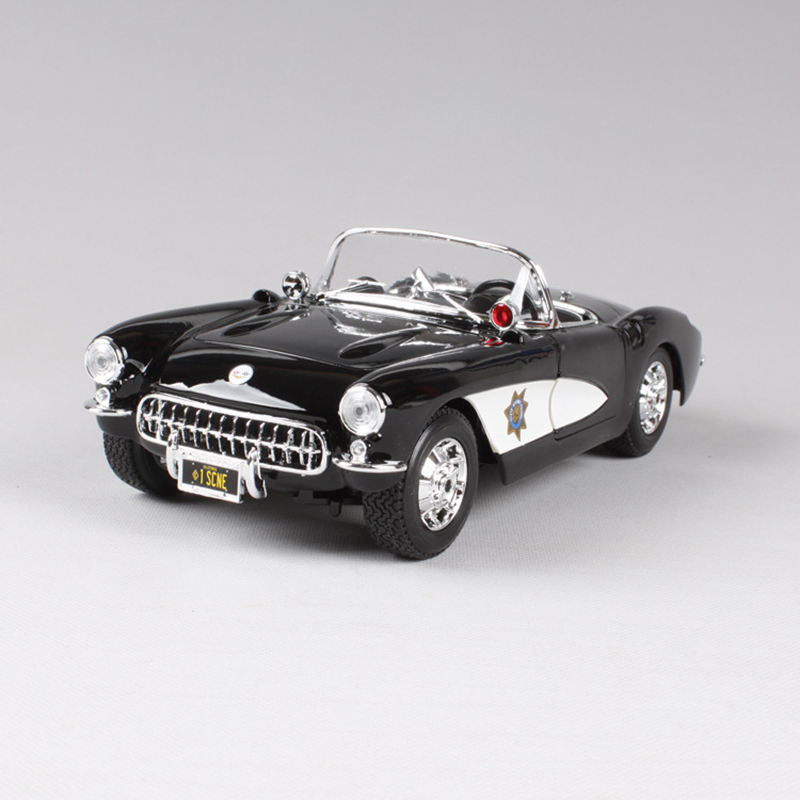 1:18 diecast Car 1957 Corvette Roadster Coupe Black Classic Cars 1:18 Alloy Car Metal Vehicle Collectible Models toys For Gift new year gift 1965 sting ray 1 18 metal model car classic roadster alloy collection vehicle decoration simulation toys