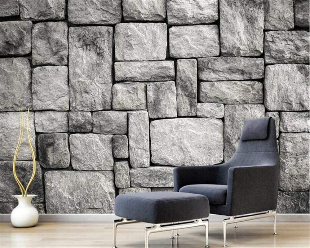 US $8.4 44% OFF|Beibehang Custom Tapete Wohnzimmer Schlafzimmer Hintergrund  3d Tapete Grau Europäischen Stil Stein Ziegel Wand Hintergrund tapete-in ...