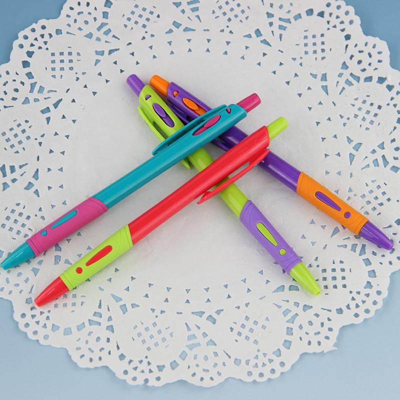 4 PCS/Set Random Mixed Color Plastic Ballpoint Pen Red Purple Blue Green Ballpoint Pen 0.7mm