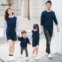 Angela Alex Spring Family Matching Outfits Couples Clothes Knitting Sweater Family Look Fashion Stripe Patchwork Embroidery