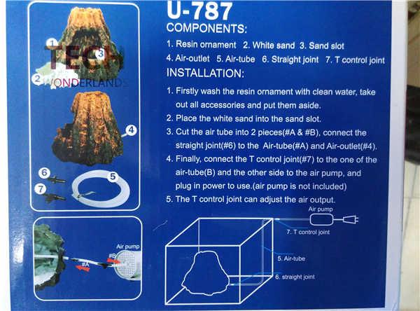 Decoração do aquário Fonte De Areia de Alta Qualidade Do Aqua para o tanque de peixes de Resina Ornamento Do vulcão U-787 1 pc frete grátis