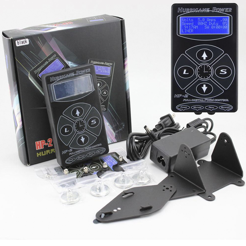 Good Quality mini Professional Black HP-2 Hurricane Tattoo Power Supply Dual LCD Display Digital Tattoo Power Supply Machines