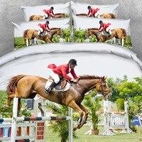 4 PCS PER SET Stunning Horse Jumping Equestrian 3d Hd Bedding set 3D Bed Linens