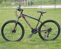 Алюминий рамка, 27 Скорость велосипедов, 26*1,95 дюйма горный велосипед, передние и задние диск, механические тормоза, бесплатная доставка.