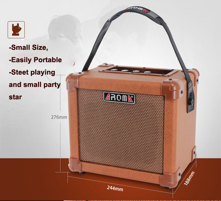 AROMA 10W Brown Amplifier Speaker Box AG-10A Handy Portable Acoustic Guitar AMP Sound free shipping joyo ja 03 metal sound mini guitar amp pocket amplifier micro headphone speaker instruments guitarra 3w amp
