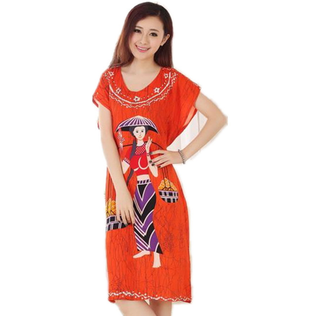 Orange Novelty Summer Short Sleeve Lady's Cotton Nightgown Chinese Style Robe Bath Gown Flower Sleepwear One Size T065