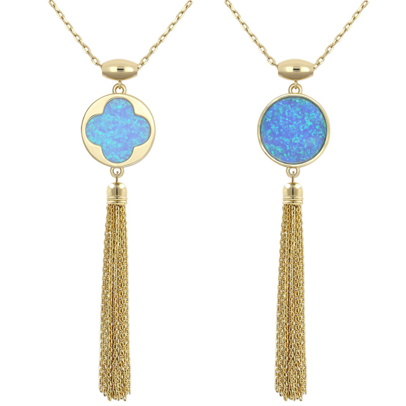 Newest Blue Round Pendant Necklace for Women Double Side Four Leaf Clover Opal Gold Chain plated Tassel necklace