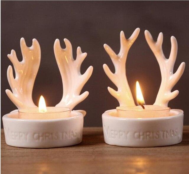 New!2pc/lot Ceramic Candle Holder White Color Christmas Decor Tealight  Holder Antler Design