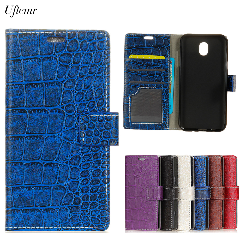Uftemr Vintage Crocodile PU Leather Cover Silicone Case for Samsung Galaxy J7 2017 Eurasia Edition Wallet Card Slot Acessories