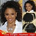 Бразильский странный вьющиеся обернуть вокруг хвост человеческих волос ponytail прически афро Вьющиеся хвостики для чернокожих женщин