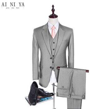 The new men's suit Custom Made Light Grey Men Suit Slim Fit Groom Tuxedo Men's Wedding Suits 3 PC