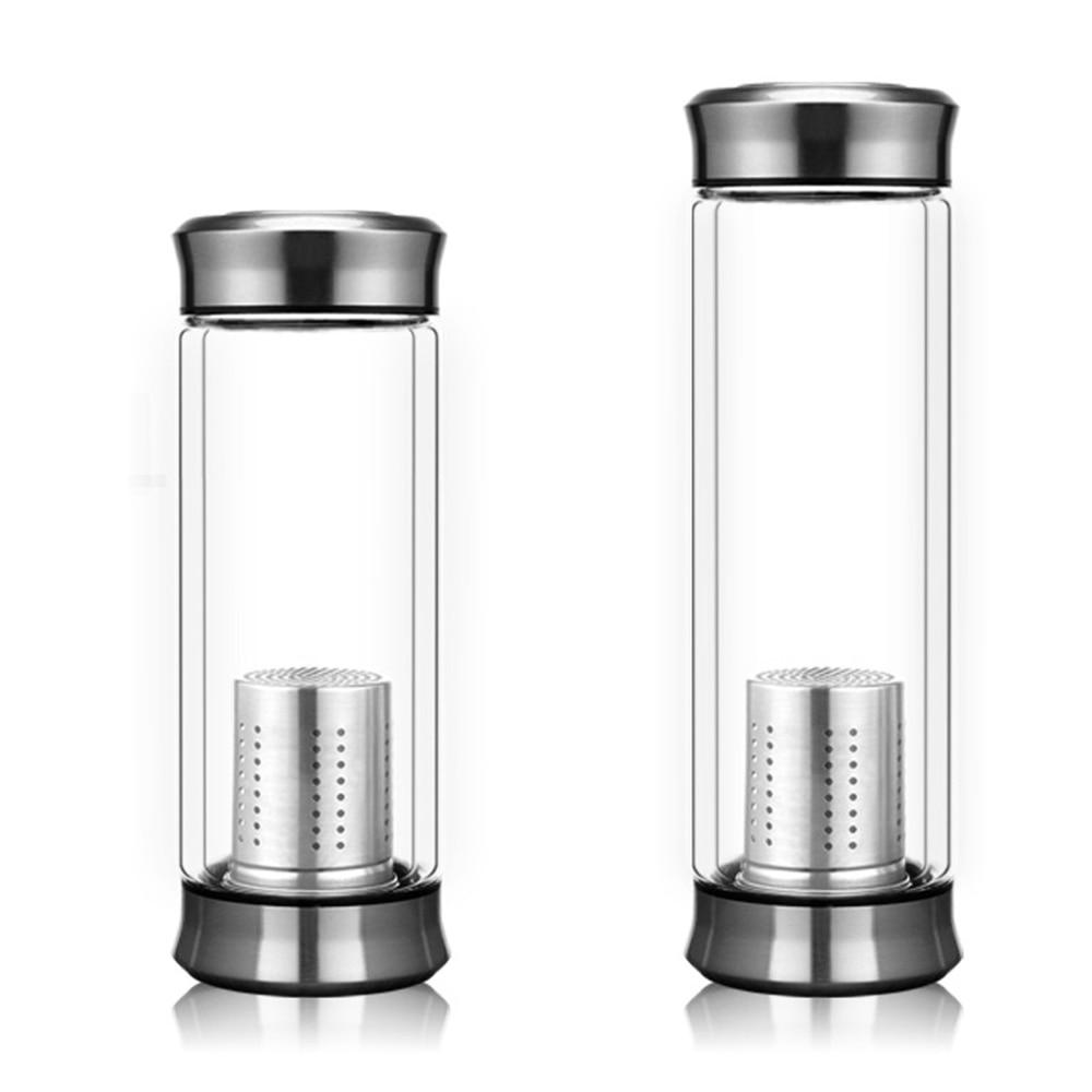 Leak-Proof Glass Water Bottle 300/420ml Drinking Teapot Sports Travel Tour Circular Transparent Bottles With Tea strainer