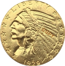 24-K gold plated 1929 $5 GOLD Indian Half Eagle Coin Copy cheap CHINA Antique Imitation Copper Gyphongxin CASTING people 1920-1939 COINS