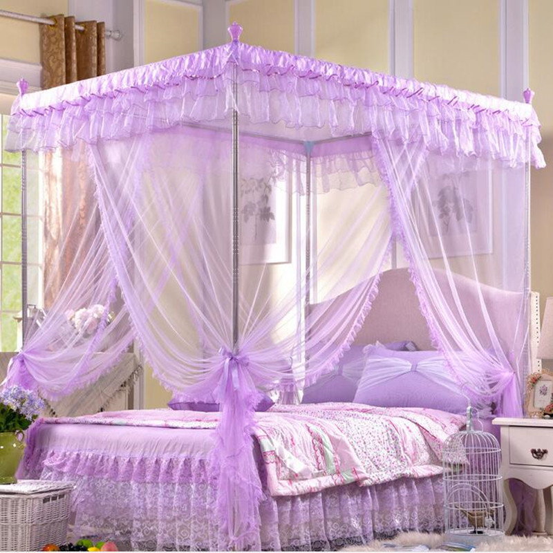 Online buy wholesale purple canopy from china purple for Bed with mosquito net decoration