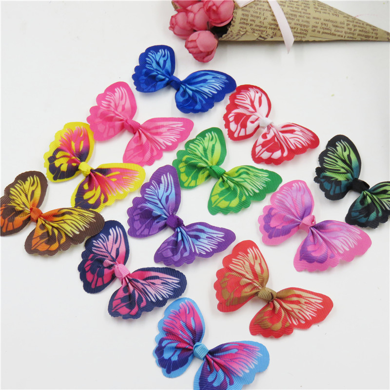 12PCS/LOT Dazzling Colorful Butterfly WITHOUT CLIP Girl Hair Accessory Bow For DIY Headdress Semi-finished Products Accessories