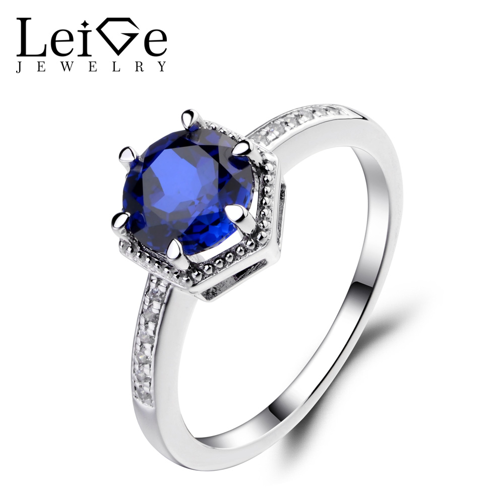 Leige Jewelry Sapphire Wedding Engagement Rings for Women Round Cut Blue Gemstone Ring 925 Sterling Silver Fine Jewelry