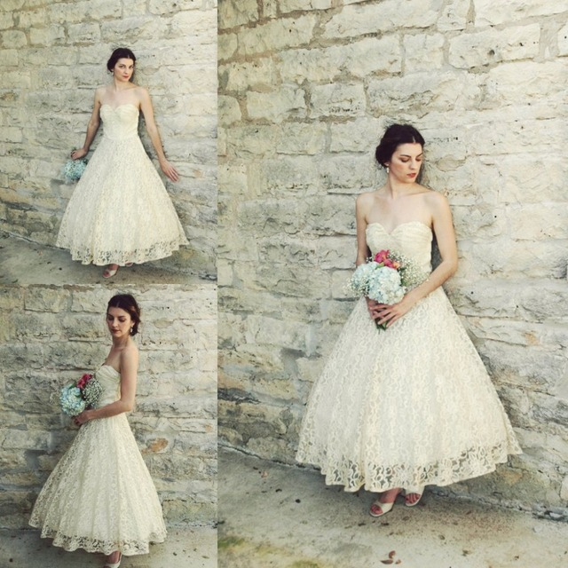 bb3f50535167 Vintage 1950s Ankle Length Wedding Dress Antique Ivory Lace A-line Full  Skirt Beach Bridal