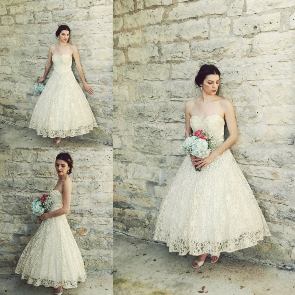 vintage 1950s ankle length wedding dress antique ivory lace a line full skirt beach bridal