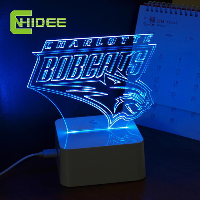 Cnhidee toque regulável lâmpada NBA NBA para lâmpada de mesa Charlotte Bobcats 3D 3D lâmpada de mesa para decoração de casa
