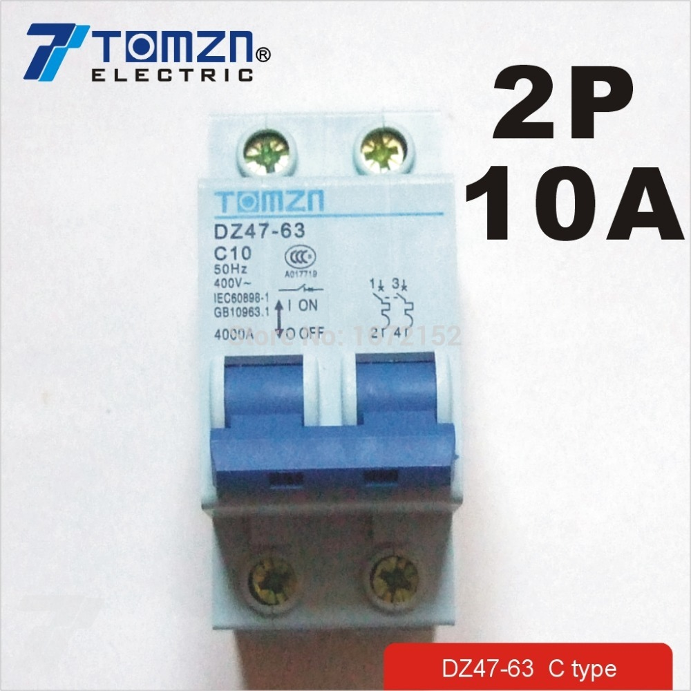 2P 10A 400V~ 50HZ/60HZ Circuit breaker AC MCB safety breaker C TYPE ...