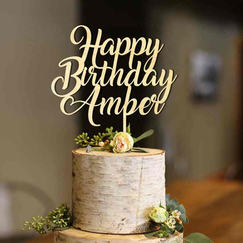 Awe Inspiring Custom Happy Birthday Cake Topper Wooden Birthday Cake Topper Wood Funny Birthday Cards Online Aeocydamsfinfo