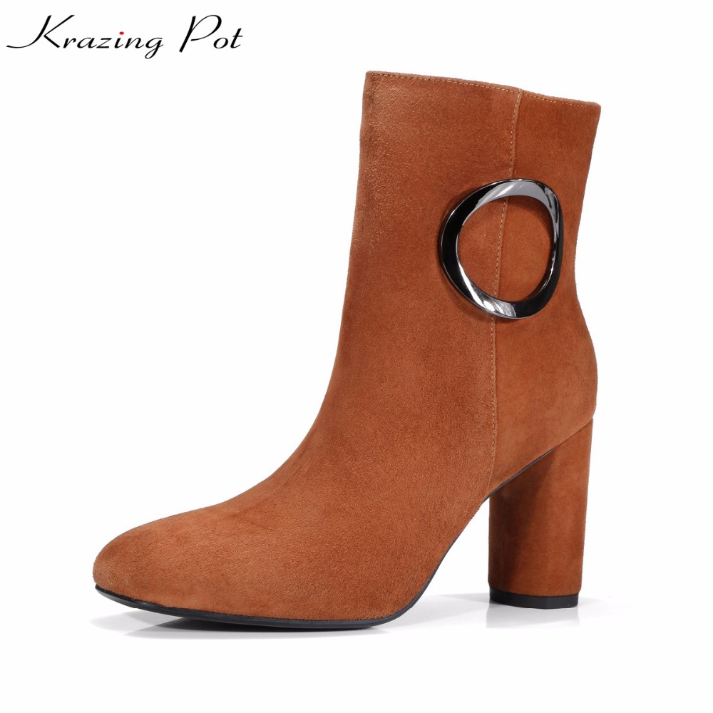 Krazing Pot 2018 sheep suede Autumn winter square toe gladitor round metal buckle high heels women young lady mid-calf boots L36 double buckle cross straps mid calf boots