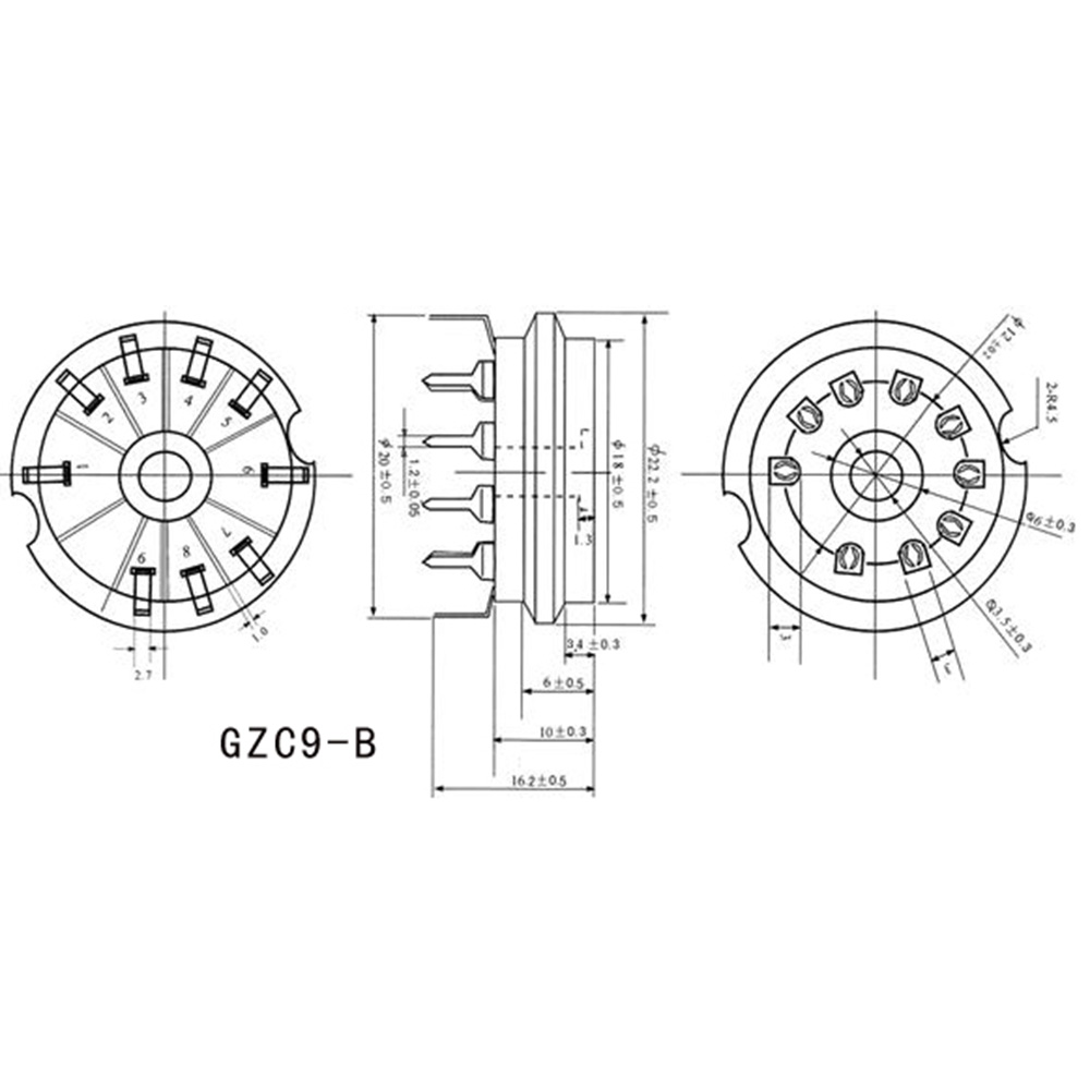 US $1 26 |2PCS New Ceramic Silver B9A 9Pin Vacuum Tube Sockets PCB Mount  Home Amplifier For 6922 6DJ8 12AU7 ECC81 EF86 EL84 12AT7 Etc-in Amplifier