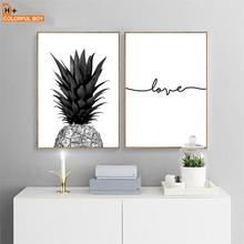 цена на Pineapple Love Quote Wall Art Canvas Painting Nordic Posters Prints Black White Wall Pictures For Living Room Bedroom Home Decor