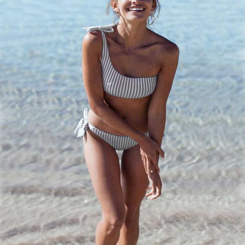HTB1yEONbL1G3KVjSZFkq6yK4XXaw Sexy Striped Bandage Bikinis Women One Shoulder Bathing Suit Swimwear Low Waist Swimsuit Tube Top Female Summer Beachwear