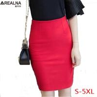 16f29b6073c3fc AREALNA Classic Red Black Pencil Skirt Elegant Ladies Office Work Short  Skirt High Waist Bodycon Women
