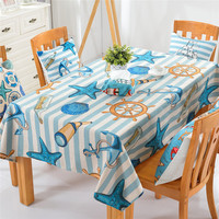 Mediterranean BeddingOutlet Starfish Boat Printed Tablecloth Cotton And Linen Dinner Table Cloth 2 Sizes Hot
