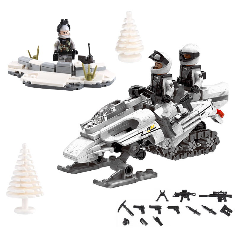 compatible legoinglys Military WW2 Snow motorcycle Assemble Building Blocks model figures with arms toys for children gift