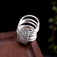 Genuine Solid Sterling Silver Jewelry 925 Ring Stackable 9 Layers Retro Punk Rock Round Rings For Women Fine Jewellery Anillos