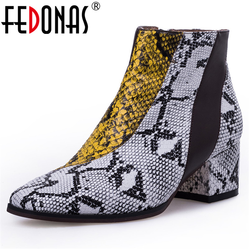 FEDONAS New Brand Women High Heels Ankle Boots Zipper Party Wedding Shoes Woman Square Toe Short Martin Shoes Basic Boots